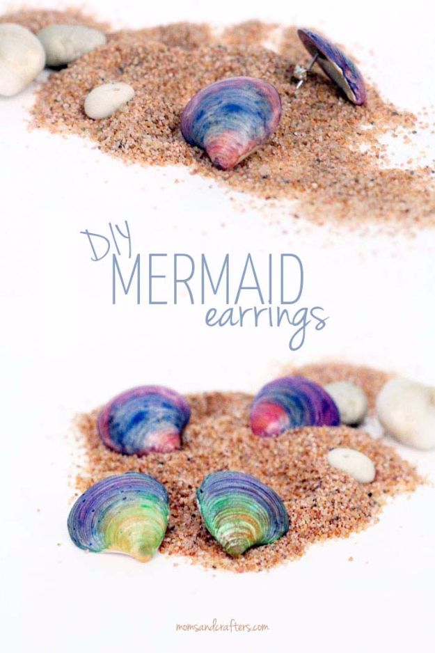 DIY Mermaid Crafts - DIY Seashell Earrings - How To Make Room Decorations, Art Projects, Jewelry, and Makeup For Kids, Teens and Teenagers - Mermaid Costume Tutorials - Fun Clothes, Pillow Projects, Mermaid Tail Tutorial http://diyprojectsforteens.com/diy-mermaid-crafts