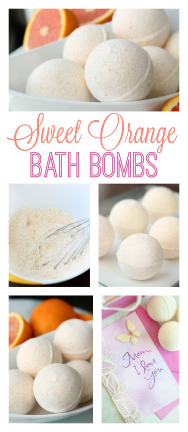 Cool DIY Bath Bombs to Make At Home - DIY Sweet Orange Bath Bombs - Recipes and Tutorial for How To Make A Bath Bomb - Best Bathbomb Ideas - Fun DIY Projects for Women, Teens, and Girls | DIY Bath Bombs Recipe and Tutorials | Make Cheap Gifts Like Lush Bath Bombs http://diyprojectsforteens.com/best-diy-bath-bombs