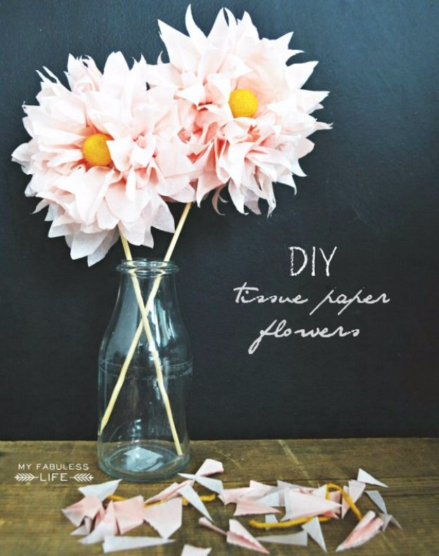 DIY Paper Flowers For Your Room - DIY Tissue Paper Flowers - How To Make A Paper Flower - Large Wedding Backdrop for Wall Decor - Easy Tissue Paper Flower Tutorial for Kids - Giant Projects for Photo Backdrops - Daisy, Roses, Bouquets, Centerpieces - Cricut Template and Step by Step Tutorial http://diyjoy.com/diy-paper-flowers