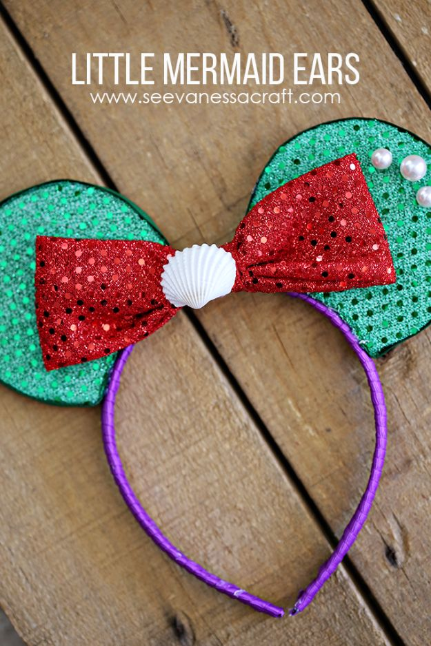 DIY Mermaid Crafts - Disney Little Mermaid Ears - How To Make Room Decorations, Art Projects, Jewelry, and Makeup For Kids, Teens and Teenagers - Mermaid Costume Tutorials - Fun Clothes, Pillow Projects, Mermaid Tail Tutorial http://diyprojectsforteens.com/diy-mermaid-crafts