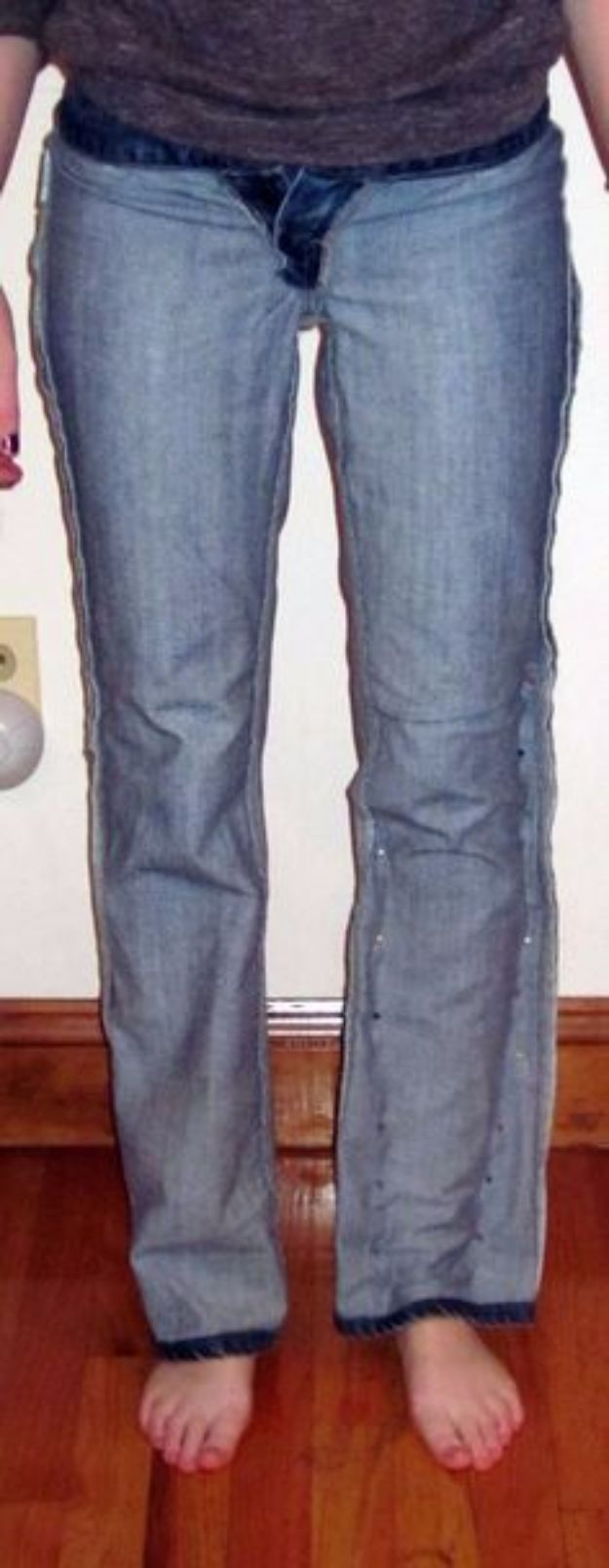 DIY Jeans Makeovers - Flares to Straight Leg - Easy Crafts and Tutorials to Refashion and Upcycle Your Jeans and Create Ripped, Distressed, Bleach, Lace Edge, Cut Off, Skinny, Shorts, Skirts, Galaxy and Painted Jeans Ideas - Cool Denim Fashions for Teens, Teenagers, Women http://diyprojectsforteens.com/diy-jeans-projects