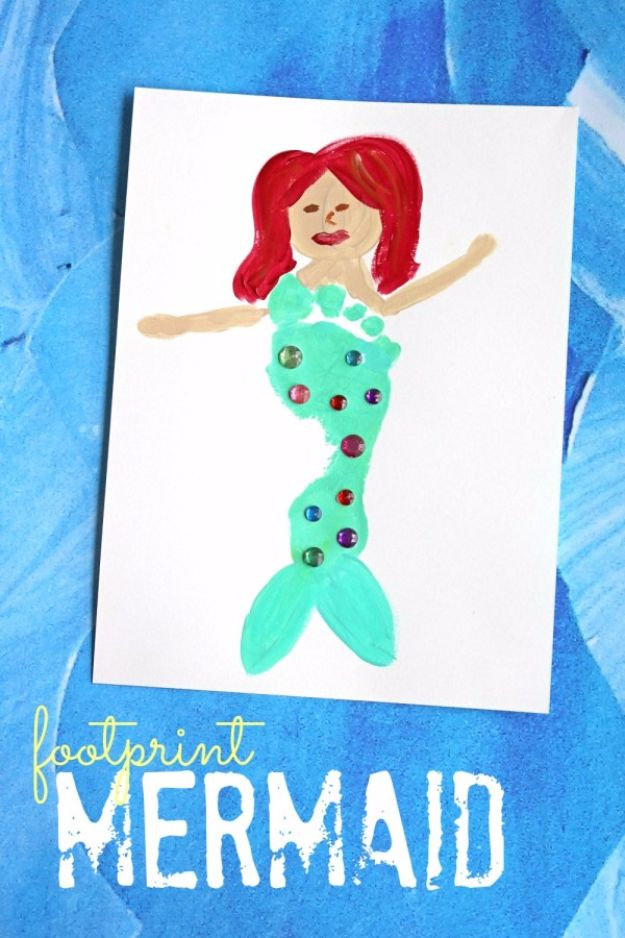 DIY Mermaid Crafts - Footprint Mermaid Keepsake Idea - How To Make Room Decorations, Art Projects, Jewelry, and Makeup For Kids, Teens and Teenagers - Mermaid Costume Tutorials - Fun Clothes, Pillow Projects, Mermaid Tail Tutorial http://diyprojectsforteens.com/diy-mermaid-crafts