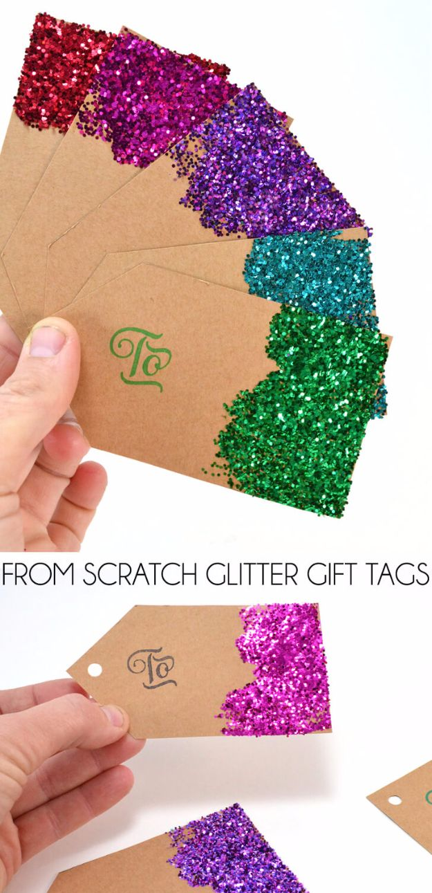 DIY Ideas WIth Glitter - From Scratch Glitter Gift Tags - Easy Crafts and Projects for Decoration, Gifts, and Bedroom Decor - How To Make Ombre, Mod Podge and Glitter Mason Jar Gift Ideas For Teens - Easy Clothes and Makeup Crafts For Teenagers http://diyprojectsforteens.com/glitter-crafts-ideas