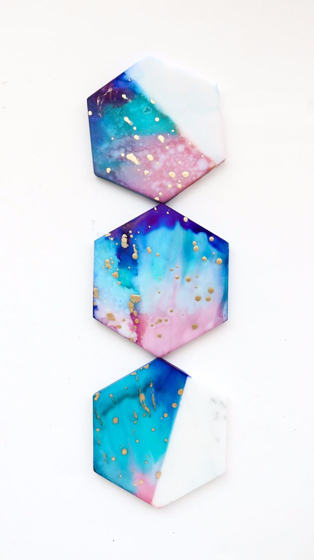 Galaxy DIY Crafts - Galaxy Color Blocked Marble Coasters - Easy Room Decor, Cool Clothes, Fun Fabric Ideas and Painting Projects - Food, Cookies and Cupcake Recipes - Nebula Galaxy In A Jar - Art for Your Bedroom - Shirt, Backpack, Soap, Decorations for Teens, Kids and Adults http://diyprojectsforteens.com/galaxy-crafts