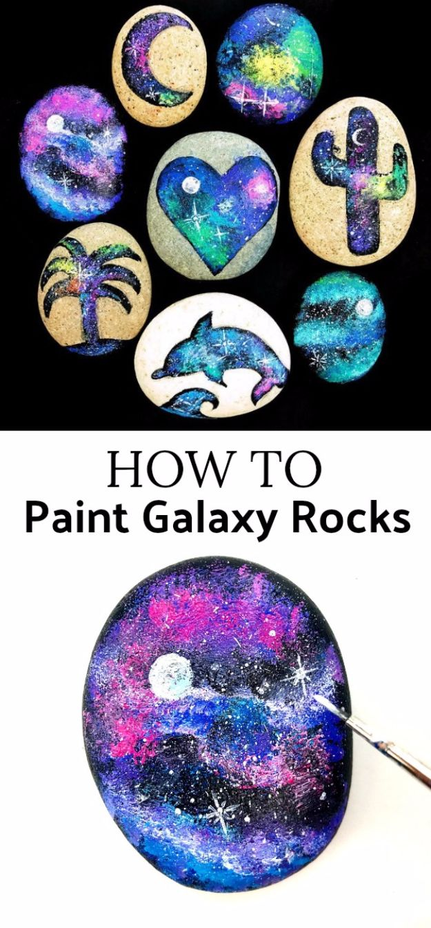 Galaxy DIY Crafts - Galaxy Painted Rocks - Easy Room Decor, Cool Clothes, Fun Fabric Ideas and Painting Projects - Food, Cookies and Cupcake Recipes - Nebula Galaxy In A Jar - Art for Your Bedroom - Shirt, Backpack, Soap, Decorations for Teens, Kids and Adults http://diyprojectsforteens.com/galaxy-crafts