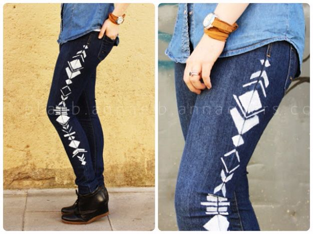 DIY Jeans Makeovers - Geometric Painted Jeans DIY - Easy Crafts and Tutorials to Refashion and Upcycle Your Jeans and Create Ripped, Distressed, Bleach, Lace Edge, Cut Off, Skinny, Shorts, Skirts, Galaxy and Painted Jeans Ideas - Cool Denim Fashions for Teens, Teenagers, Women #diyideas #diyclothes #clothinghacks #teencrafts