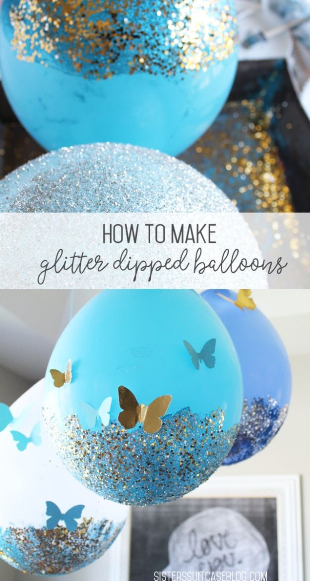 DIY Ideas WIth Glitter - Glitter Balloon - Easy Crafts and Projects for Decoration, Gifts, and Bedroom Decor - How To Make Ombre, Mod Podge and Glitter Mason Jar Gift Ideas For Teens - Easy Clothes and Makeup Crafts For Teenagers #diyideas #glitter #crafts