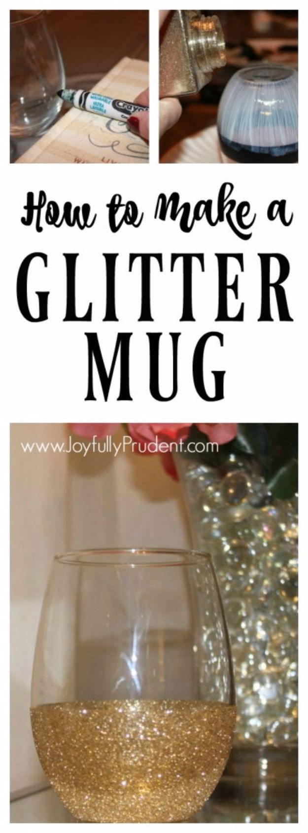 DIY Ideas WIth Glitter - Glitter Dipped Mug - Easy Crafts and Projects for Decoration, Gifts, and Bedroom Decor - How To Make Ombre, Mod Podge and Glitter Mason Jar Gift Ideas For Teens - Easy Clothes and Makeup Crafts For Teenagers #diyideas #glitter #crafts
