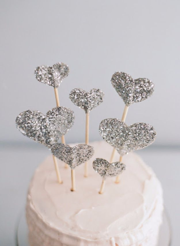 DIY Ideas WIth Glitter - Glitter Heart Cake Topper - Easy Crafts and Projects for Decoration, Gifts, and Bedroom Decor - How To Make Ombre, Mod Podge and Glitter Mason Jar Gift Ideas For Teens - Easy Clothes and Makeup Crafts For Teenagers #diyideas #glitter #crafts