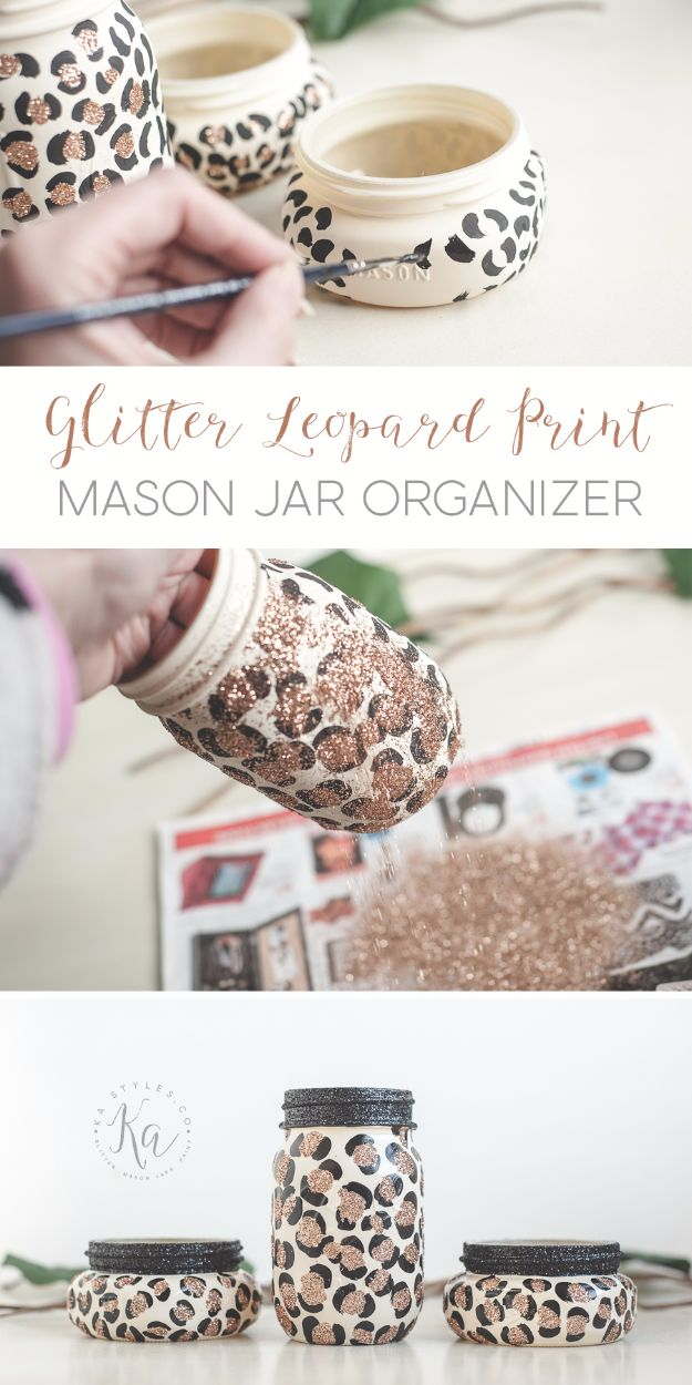 DIY Ideas WIth Glitter - Glitter Leopard Print Mason Jar Organizers - Easy Crafts and Projects for Decoration, Gifts, and Bedroom Decor - How To Make Ombre, Mod Podge and Glitter Mason Jar Gift Ideas For Teens - Easy Clothes and Makeup Crafts For Teenagers #diyideas #glitter #crafts