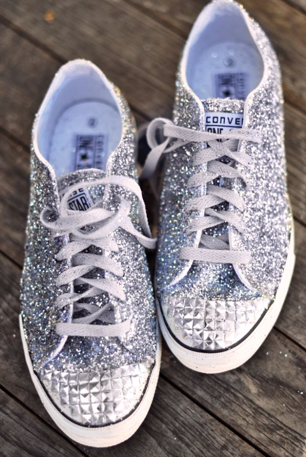 DIY Ideas WIth Glitter - Glitter Sneakers DIY - Easy Crafts and Projects for Decoration, Gifts, and Bedroom Decor - How To Make Ombre, Mod Podge and Glitter Mason Jar Gift Ideas For Teens - Easy Clothes and Makeup Crafts For Teenagers http://diyprojectsforteens.com/glitter-crafts-ideas