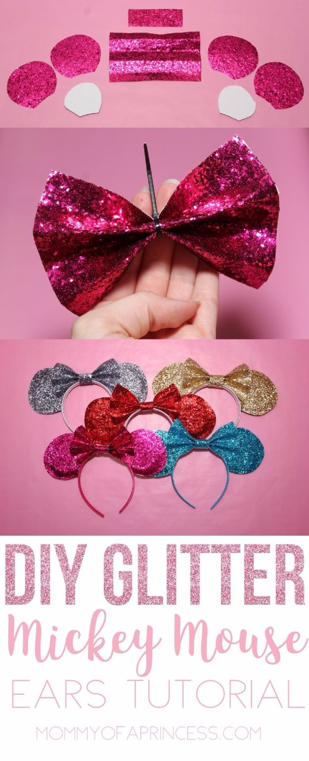 DIY Ideas WIth Glitter - Glittery DIY Mickey Ears for less than $5 - Easy Crafts and Projects for Decoration, Gifts, and Bedroom Decor - How To Make Ombre, Mod Podge and Glitter Mason Jar Gift Ideas For Teens - Easy Clothes and Makeup Crafts For Teenagers http://diyprojectsforteens.com/glitter-crafts-ideas
