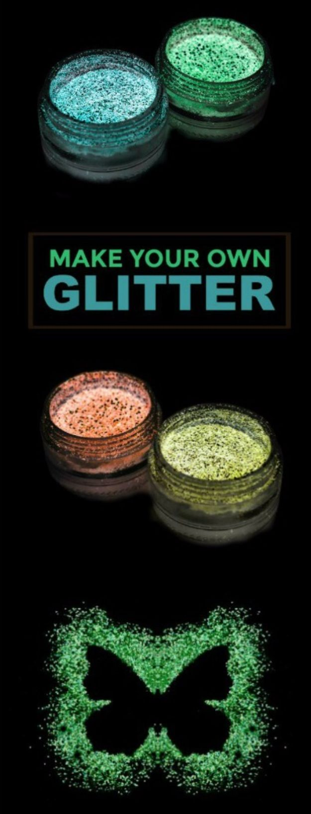 DIY Ideas WIth Glitter - Glow-in-the-Dark Glitter - Easy Crafts and Projects for Decoration, Gifts, and Bedroom Decor - How To Make Ombre, Mod Podge and Glitter Mason Jar Gift Ideas For Teens - Easy Clothes and Makeup Crafts For Teenagers http://diyprojectsforteens.com/glitter-crafts-ideas