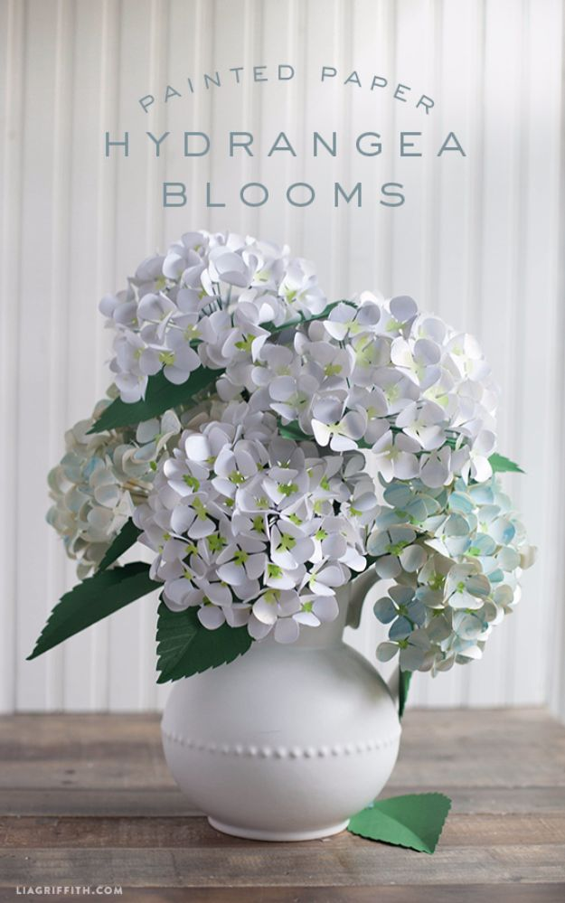 DIY Paper Flowers For Your Room - Gorgeous Paper Hydrangeas - How To Make A Paper Flower - Large Wedding Backdrop for Wall Decor - Easy Tissue Paper Flower Tutorial for Kids - Giant Projects for Photo Backdrops - Daisy, Roses, Bouquets, Centerpieces - Cricut Template and Step by Step Tutorial http://diyjoy.com/diy-paper-flowers