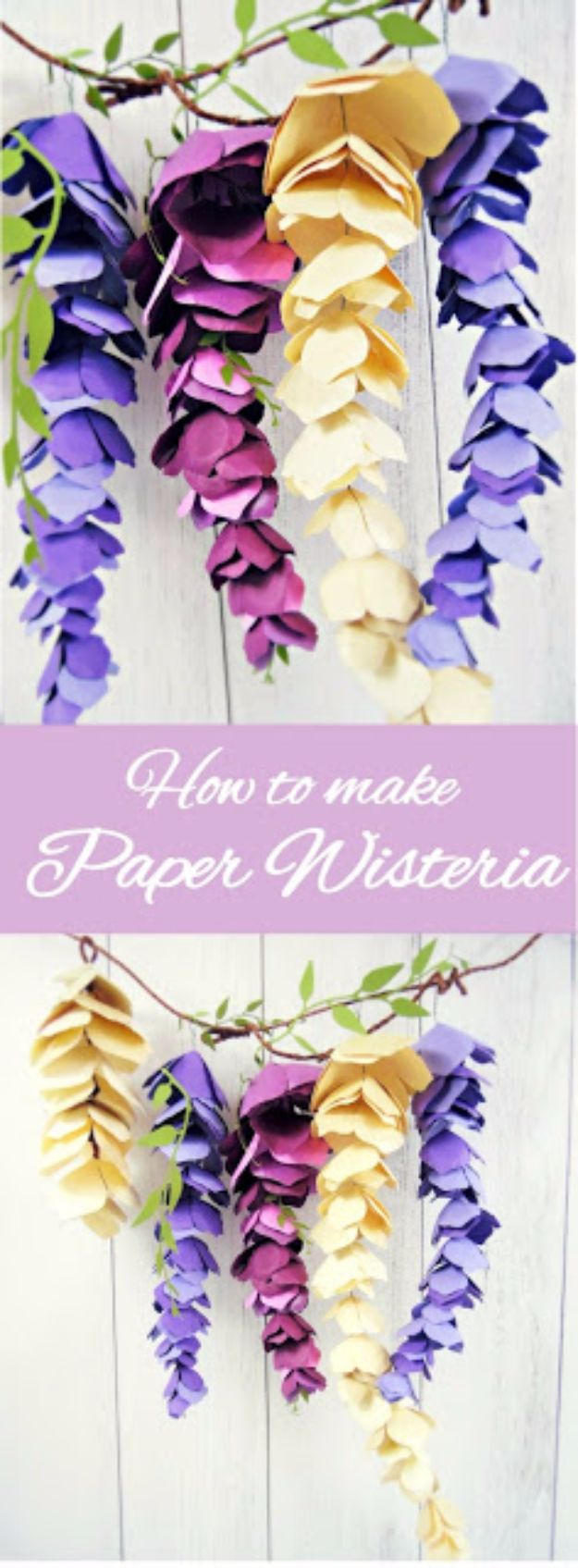 DIY Paper Flowers For Your Room - Hanging Paper Wisteria - How To Make A Paper Flower - Large Wedding Backdrop for Wall Decor - Easy Tissue Paper Flower Tutorial for Kids - Giant Projects for Photo Backdrops - Daisy, Roses, Bouquets, Centerpieces - Cricut Template and Step by Step Tutorial http://diyjoy.com/diy-paper-flowers