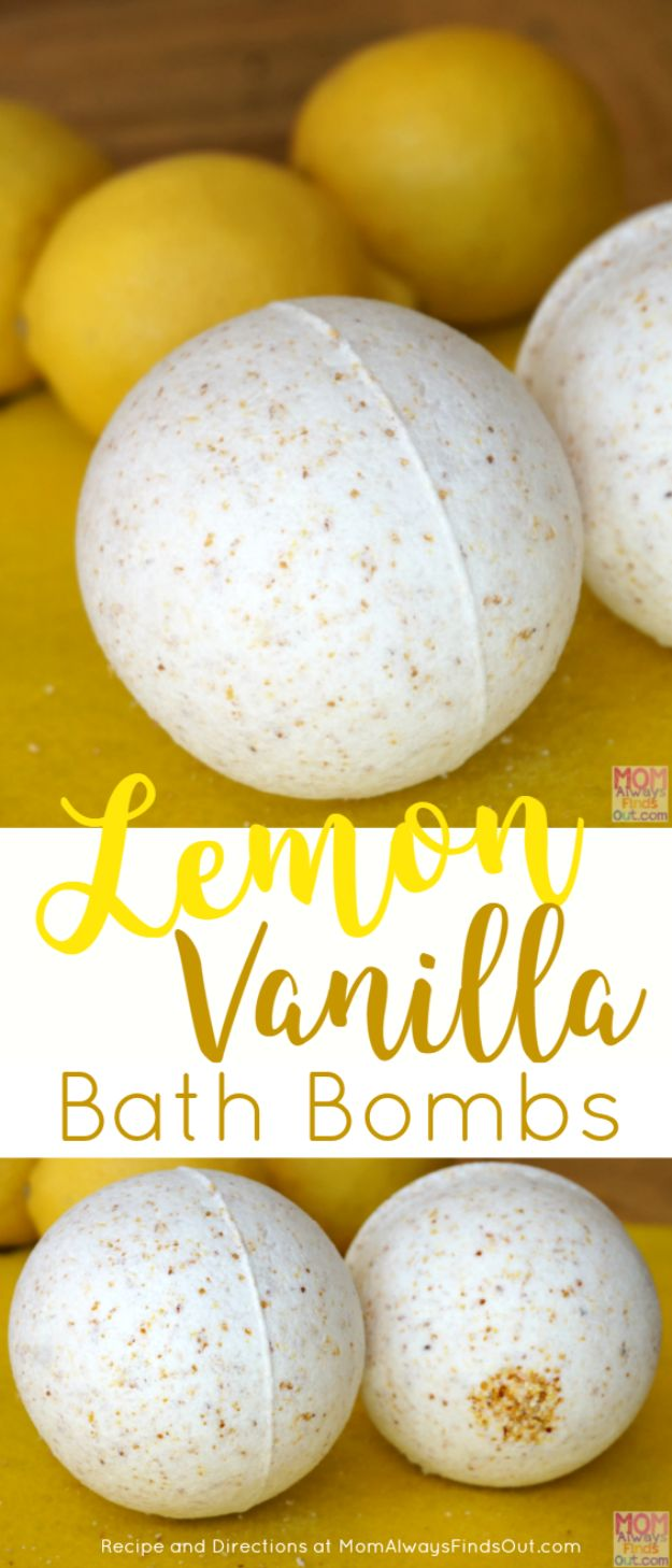 Cool DIY Bath Bombs to Make At Home - Lemon Vanilla Bath Bomb - Recipes and Tutorial for How To Make A Bath Bomb - Best Bathbomb Ideas - Fun DIY Projects for Women, Teens, and Girls | DIY Bath Bombs Recipe and Tutorials | Make Cheap Gifts Like Lush Bath Bombs http://diyprojectsforteens.com/best-diy-bath-bombs