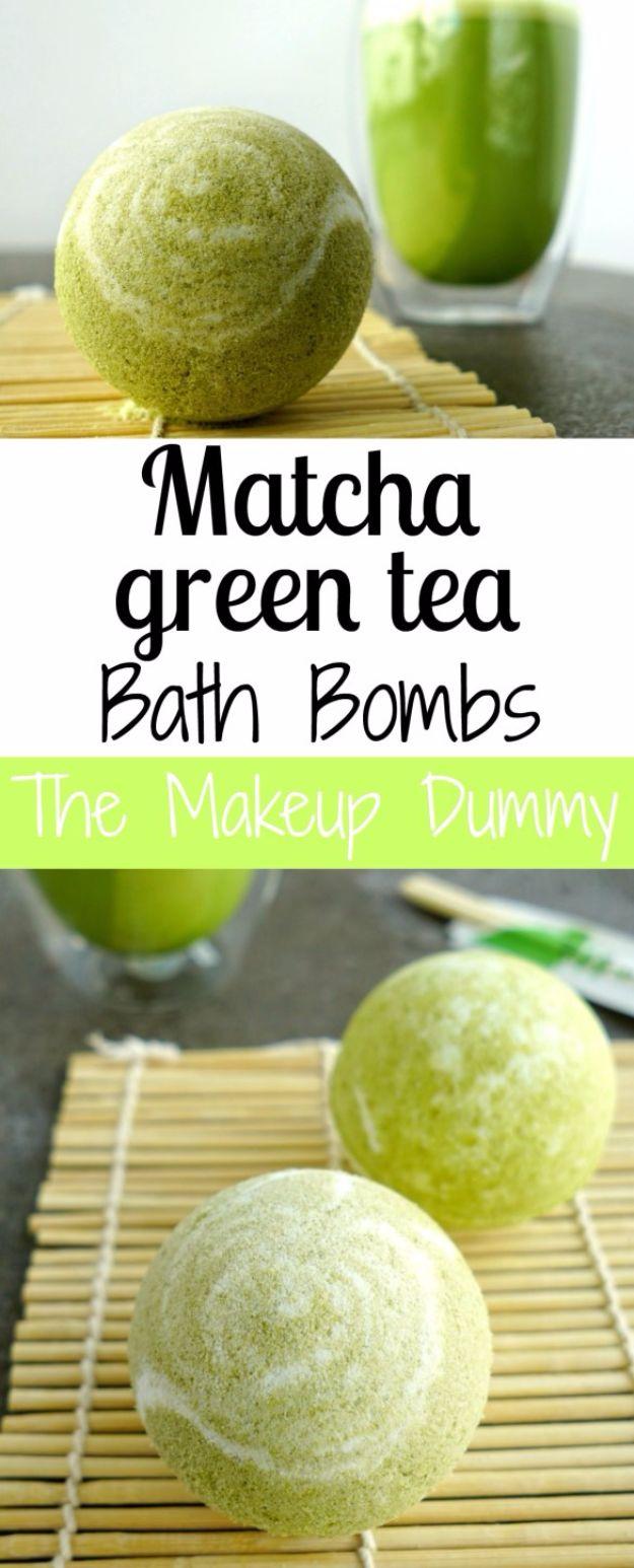 Cool DIY Bath Bombs to Make At Home - Matcha Green Tea Bath Bombs - Recipes and Tutorial for How To Make A Bath Bomb - Best Bathbomb Ideas - Fun DIY Projects for Women, Teens, and Girls | DIY Bath Bombs Recipe and Tutorials | Make Cheap Gifts Like Lush Bath Bombs #bathbombs #teencrafts #diyideas