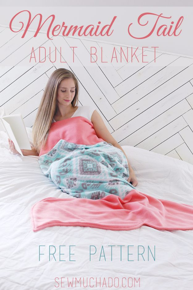 DIY Mermaid Crafts - Mermaid Tail Adult Blanket - How To Make Room Decorations, Art Projects, Jewelry, and Makeup For Kids, Teens and Teenagers - Mermaid Costume Tutorials - Fun Clothes, Pillow Projects, Mermaid Tail Tutorial http://diyprojectsforteens.com/diy-mermaid-crafts