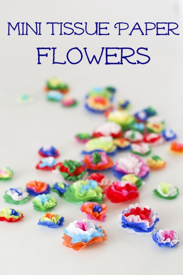 DIY Paper Flowers For Your Room - Mini Tissue Paper Flowers - How To Make A Paper Flower - Large Wedding Backdrop for Wall Decor - Easy Tissue Paper Flower Tutorial for Kids - Giant Projects for Photo Backdrops - Daisy, Roses, Bouquets, Centerpieces - Cricut Template and Step by Step Tutorial http://diyjoy.com/diy-paper-flowers
