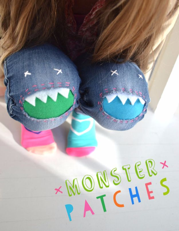 DIY Jeans Makeovers - Monster Patches - Easy Crafts and Tutorials to Refashion and Upcycle Your Jeans and Create Ripped, Distressed, Bleach, Lace Edge, Cut Off, Skinny, Shorts, Skirts, Galaxy and Painted Jeans Ideas - Cool Denim Fashions for Teens, Teenagers, Women http://diyprojectsforteens.com/diy-jeans-projects
