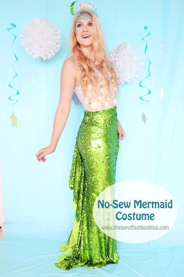 DIY Mermaid Crafts - No Sew Mermaid Costume - How To Make Room Decorations, Art Projects, Jewelry, and Makeup For Kids, Teens and Teenagers - Mermaid Costume Tutorials - Fun Clothes, Pillow Projects, Mermaid Tail Tutorial http://diyprojectsforteens.com/diy-mermaid-crafts