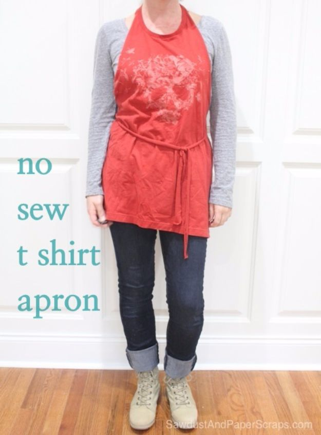T-Shirt Makeovers - No Sew T-Shirt Apron - Fun Upcycle Ideas for Tees - How To Make Simple Awesome Summer Style Projects - Cute Sleeve and Neckline Ideas - Cheap and Easy Ways To Upcycle Tshirts for Fun Clothes and Fashion - Quick Projects for Teens and Teenagers on A Budget http://diyprojectsforteens.com/t-shirt-makeovers