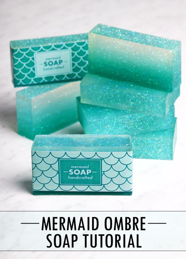 DIY Mermaid Crafts - Ombre Mermaid Soap - How To Make Room Decorations, Art Projects, Jewelry, and Makeup For Kids, Teens and Teenagers - Mermaid Costume Tutorials - Fun Clothes, Pillow Projects, Mermaid Tail Tutorial http://diyprojectsforteens.com/diy-mermaid-crafts