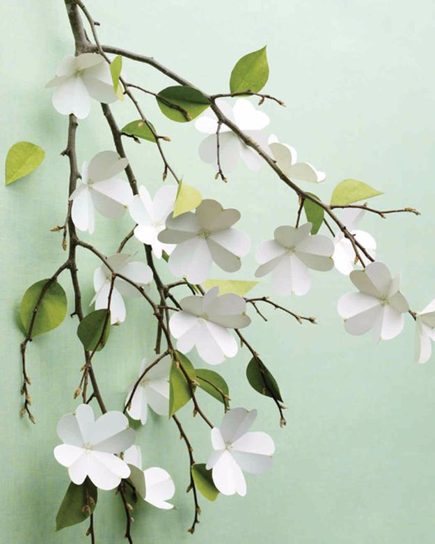 DIY Paper Flowers For Your Room - Paper Dogwood Flowers - How To Make A Paper Flower - Large Wedding Backdrop for Wall Decor - Easy Tissue Paper Flower Tutorial for Kids - Giant Projects for Photo Backdrops - Daisy, Roses, Bouquets, Centerpieces - Cricut Template and Step by Step Tutorial http://diyjoy.com/diy-paper-flowers