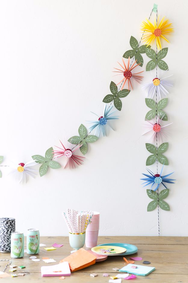 DIY Paper Flowers For Your Room - Paper Flower Garland - How To Make A Paper Flower - Large Wedding Backdrop for Wall Decor - Easy Tissue Paper Flower Tutorial for Kids - Giant Projects for Photo Backdrops - Daisy, Roses, Bouquets, Centerpieces - Cricut Template and Step by Step Tutorial http://diyjoy.com/diy-paper-flowers