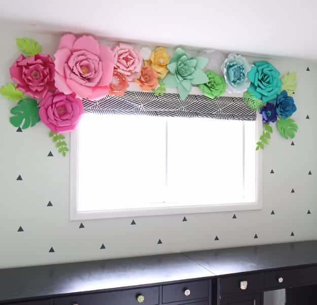 DIY Paper Flowers For Your Room -Paper Flower Window Treatment - How To Make A Paper Flower - Large Wedding Backdrop for Wall Decor - Easy Tissue Paper Flower Tutorial for Kids - Giant Projects for Photo Backdrops - Daisy, Roses, Bouquets, Centerpieces - Cricut Template and Step by Step Tutorial http://diyjoy.com/diy-paper-flowers