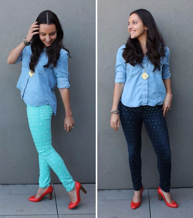 DIY Jeans Makeovers - Polka Dot Pants - Easy Crafts and Tutorials to Refashion and Upcycle Your Jeans and Create Ripped, Distressed, Bleach, Lace Edge, Cut Off, Skinny, Shorts, Skirts, Galaxy and Painted Jeans Ideas - Cool Denim Fashions for Teens, Teenagers, Women #diyideas #diyclothes #clothinghacks #teencrafts