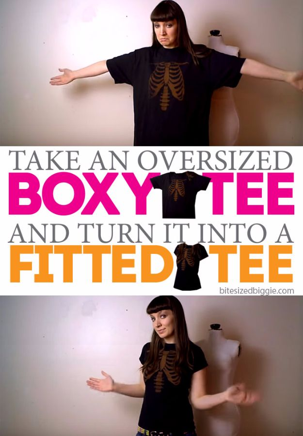 T-Shirt Makeovers - Remake a Boxy T-Shirt into a Fitted Tee - Fun Upcycle Ideas for Tees - How To Make Simple Awesome Summer Style Projects - Cute Sleeve and Neckline Ideas - Cheap and Easy Ways To Upcycle Tshirts for Fun Clothes and Fashion - Quick Projects for Teens and Teenagers on A Budget http://diyprojectsforteens.com/t-shirt-makeovers