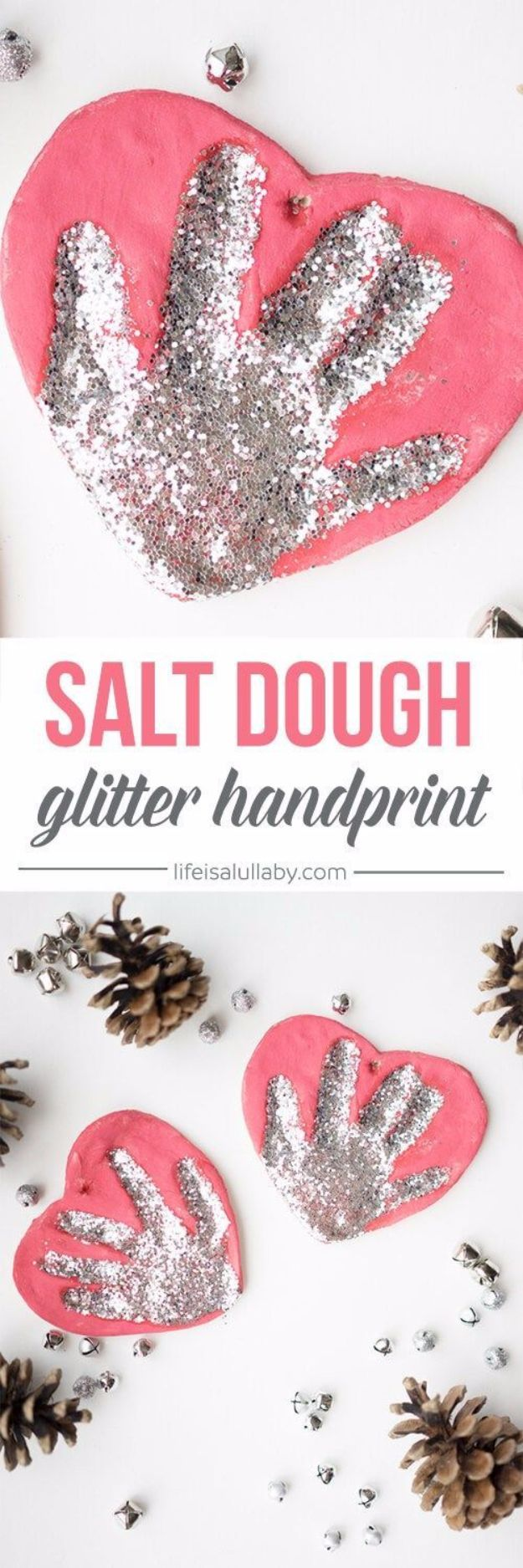 DIY Ideas WIth Glitter - Salt Dough Handprint Ornament - Easy Crafts and Projects for Decoration, Gifts, and Bedroom Decor - How To Make Ombre, Mod Podge and Glitter Mason Jar Gift Ideas For Teens - Easy Clothes and Makeup Crafts For Teenagers #diyideas #glitter #crafts