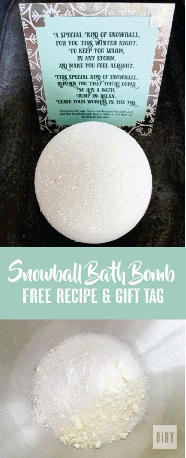 Cool DIY Bath Bombs to Make At Home - Snowball Bath Bomb - Recipes and Tutorial for How To Make A Bath Bomb - Best Bathbomb Ideas - Fun DIY Projects for Women, Teens, and Girls | DIY Bath Bombs Recipe and Tutorials | Make Cheap Gifts Like Lush Bath Bombs http://diyprojectsforteens.com/best-diy-bath-bombs