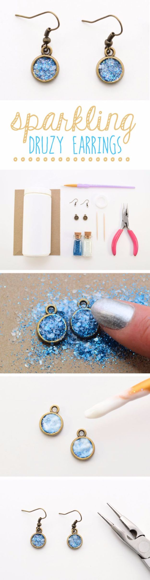 DIY Ideas WIth Glitter - Sparkling Druzy Earrings - Easy Crafts and Projects for Decoration, Gifts, and Bedroom Decor - How To Make Ombre, Mod Podge and Glitter Mason Jar Gift Ideas For Teens - Easy Clothes and Makeup Crafts For Teenagers #diyideas #glitter #crafts