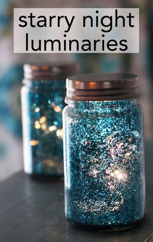 Galaxy DIY Crafts - Starry Night Luminaries - Easy Room Decor, Cool Clothes, Fun Fabric Ideas and Painting Projects - Food, Cookies and Cupcake Recipes - Nebula Galaxy In A Jar - Art for Your Bedroom - Shirt, Backpack, Soap, Decorations for Teens, Kids and Adults http://diyprojectsforteens.com/galaxy-crafts