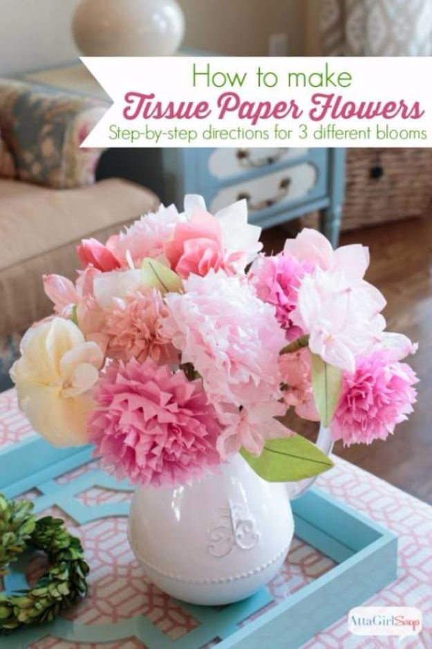 DIY Paper Flowers For Your Room - Tissue Paper Flowers - How To Make A Paper Flower - Large Wedding Backdrop for Wall Decor - Easy Tissue Paper Flower Tutorial for Kids - Giant Projects for Photo Backdrops - Daisy, Roses, Bouquets, Centerpieces - Cricut Template and Step by Step Tutorial http://diyjoy.com/diy-paper-flowers