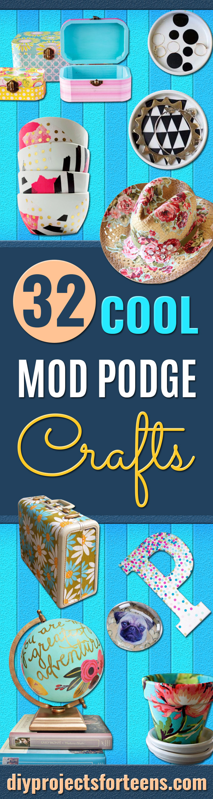 Mod Podge Crafts - DIY Modge Podge Ideas On Wood, Glass, Canvases, Fabric, Paper and Mason Jars - How To Make Pictures, Home Decor, Easy Craft Ideas and DIY Wall Art for Beginners - Cute, Cheap Crafty Homemade Gifts for Christmas and Birthday Presents http://diyjoy.com/mod-podge-crafts