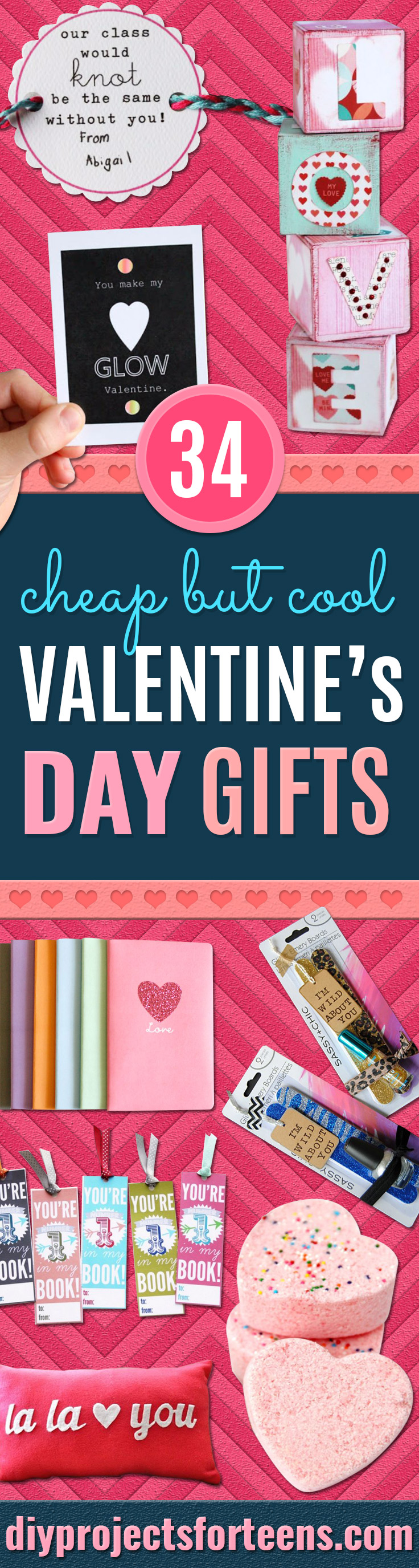 Cheap DIY Valentine's Day Gift Ideas - Make These Easy and Inexpensive Crafts and Valentine Projects - Cute Dollar Store Ideas, Tutorials for Making Jars, Gift Boxes, Pink Red and Heart Shaped Decor - Creative Ways To Say I Love You to Your BFF, Boyfriend, Girlfriend, Husband, Wife and Kids http://diyprojectsforteens.com/cheap-diy-valentines-gifts