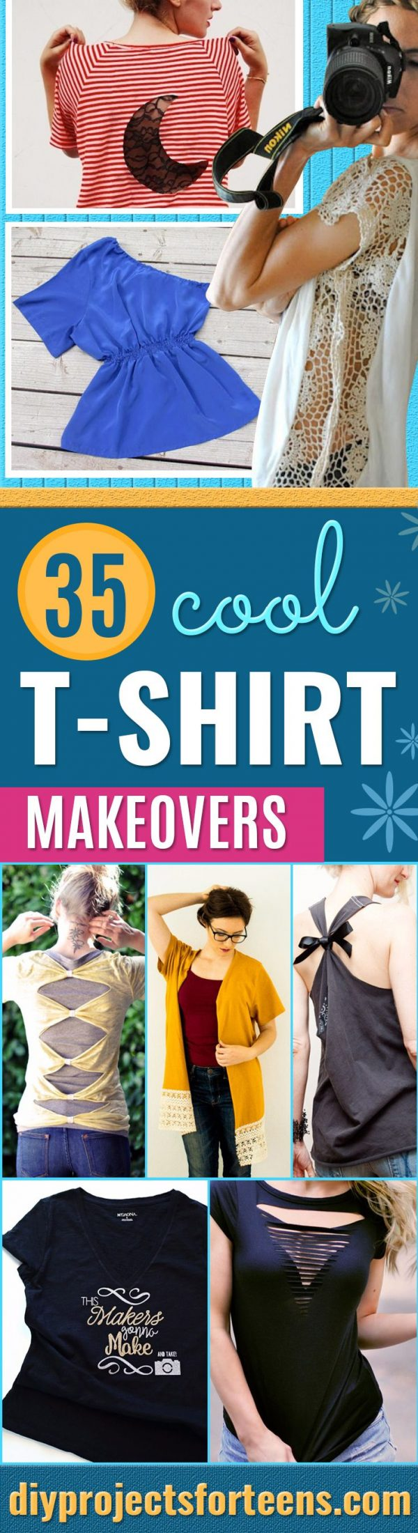 DIY T-Shirt Makeovers - Fun Upcycle Ideas for Tees - Cheap Clothes to Make- How To Make Simple Awesome Summer Style Projects - Cute Sleeve and Neckline Ideas - Cheap and Easy Ways To Upcycle Tshirts for Fun Clothes and Fashion - Quick Projects for Teens and Teenagers on A Budget #teenfashion #tshirtideas #teencrafts