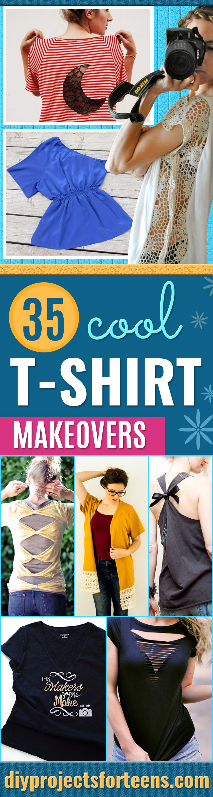 T-Shirt Makeovers - Fun Upcycle Ideas for Tees - How To Make Simple Awesome Summer Style Projects - Cute Sleeve and Neckline Ideas - Cheap and Easy Ways To Upcycle Tshirts for Fun Clothes and Fashion - Quick Projects for Teens and Teenagers on A Budget http://diyprojectsforteens.com/t-shirt-makeovers