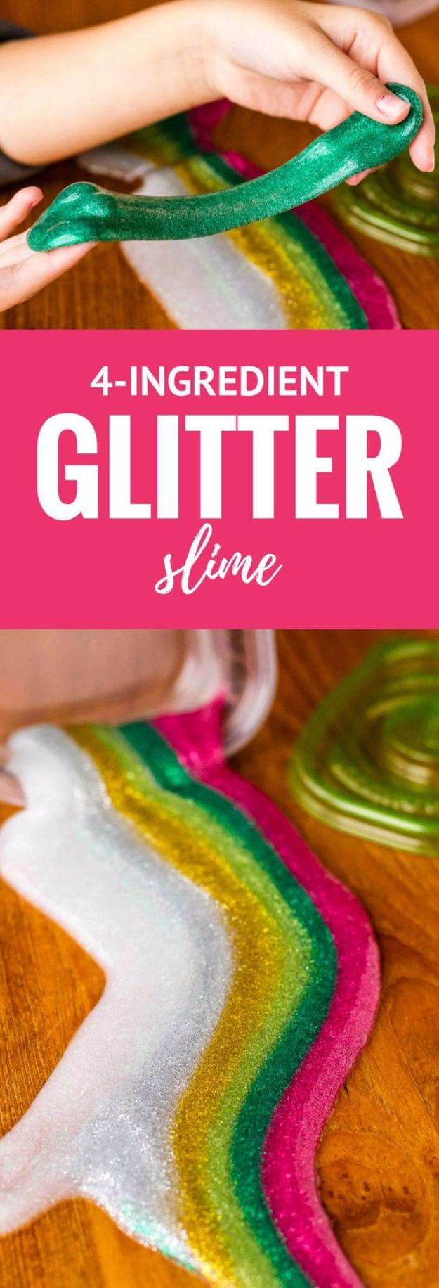 Borax Free Slime Recipes - 4-Ingredient Glitter Slime - Safe Slimes To Make Without Glue - How To Make Fluffy Slime With Shaving Cream - Easy 3 Ingredients Glitter Slime, Clear, Galaxy, Best DIY Slime Tutorials With Step by Step Instructions http://diyprojectsforteens.com/borax-free-slime