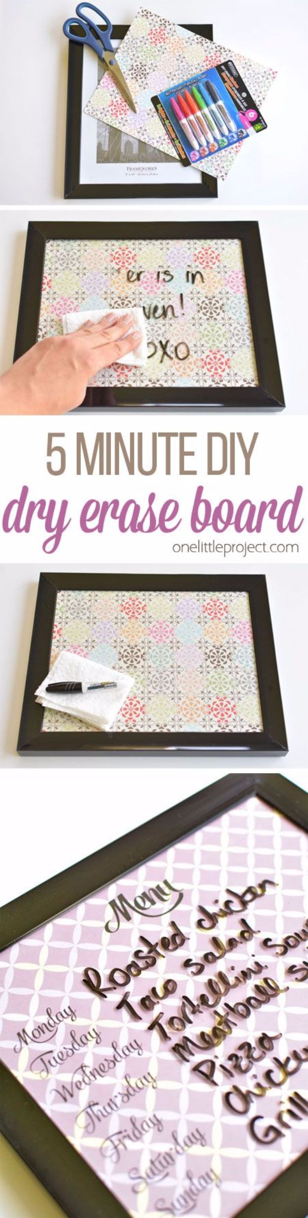 Crafts for Teens to Make and Sell - 5 Minute Dry Erase Board - Cheap and Easy DIY Ideas To Make For Extra Money - Best Things to Sell On Etsy, Dollar Store Craft Ideas, Quick Projects for Teenagers To Make Spending Cash - DIY Gifts, Wall Art, School Supplies, Room Decor, Jewelry, Fashion, Hair Accessories, Bracelets, Magnets #teencrafts #craftstosell #etsyideass