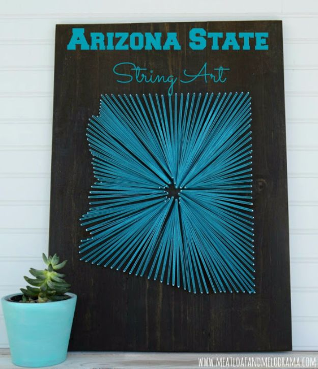 Cheap DIY Gifts and Inexpensive Homemade Christmas Gift Ideas for People on A Budget - Arizona State String Art - To Make These Cool Presents Instead of Buying for the Holidays - Easy and Low Cost Gifts fTo Make For Friends and Neighbors - Quick Dollar Store Crafts and Projects for Xmas Gift Giving Parties - Step by Step Tutorials and Instructions #diygifts #teencrafts #diyideas #crafts #christmasgifts #cheapgifts