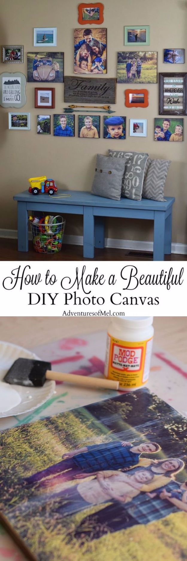 Mod Podge Crafts - Beautiful DIY Photo Canvas - DIY Modge Podge Ideas On Wood, Glass, Canvases, Fabric, Paper and Mason Jars - How To Make Pictures, Home Decor, Easy Craft Ideas and DIY Wall Art for Beginners - Cute, Cheap Crafty Homemade Gifts for Christmas and Birthday Presents http://diyjoy.com/mod-podge-crafts