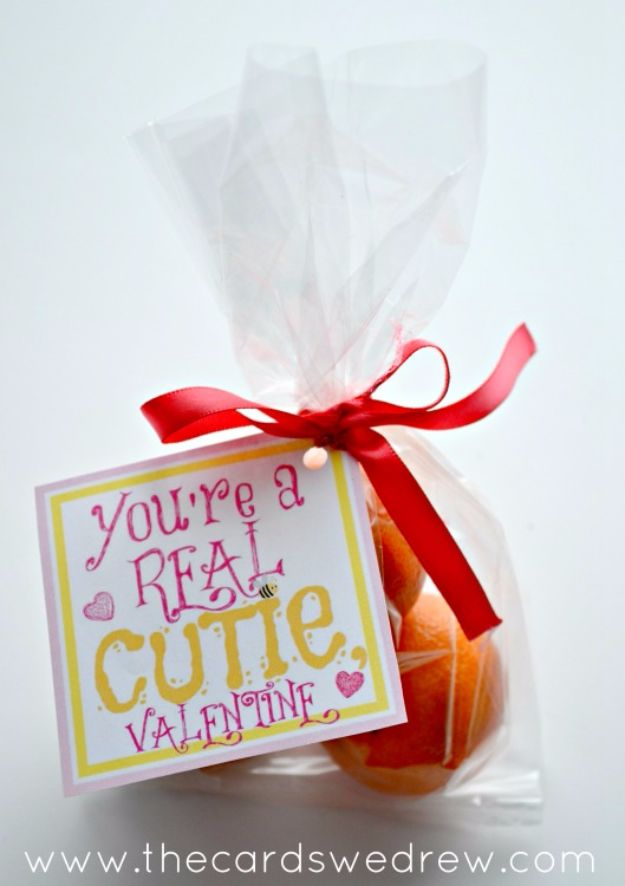 Cheap DIY Valentine's Day Gift Ideas - Clementine Valentine - Make These Easy and Inexpensive Crafts and Valentine Projects - Cute Dollar Store Ideas, Tutorials for Making Jars, Gift Boxes, Pink Red and Heart Shaped Decor - Creative Ways To Say I Love You to Your BFF, Boyfriend, Girlfriend, Husband, Wife and Kids http://diyprojectsforteens.com/cheap-diy-valentines-gifts