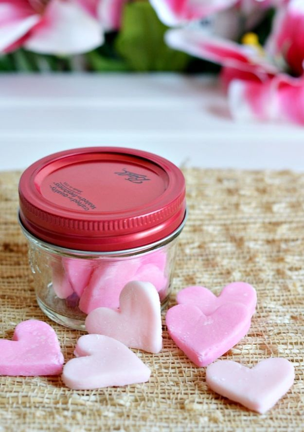 Cheap DIY Valentine's Day Gift Ideas - Cream Cheese Heart Mints - Make These Easy and Inexpensive Crafts and Valentine Projects - Cute Dollar Store Ideas, Tutorials for Making Jars, Gift Boxes, Pink Red and Heart Shaped Decor - Creative Ways To Say I Love You to Your BFF, Boyfriend, Girlfriend, Husband, Wife and Kids #diyideas #valentines #cheapgifts #valentinesgifts #valentinesday