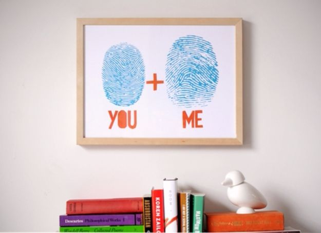 Cheap DIY Valentine's Day Gift Ideas - Custom Art From Your Own Fingerprints - Make These Easy and Inexpensive Crafts and Valentine Projects - Cute Dollar Store Ideas, Tutorials for Making Jars, Gift Boxes, Pink Red and Heart Shaped Decor - Creative Ways To Say I Love You to Your BFF, Boyfriend, Girlfriend, Husband, Wife and Kids http://diyprojectsforteens.com/cheap-diy-valentines-gifts