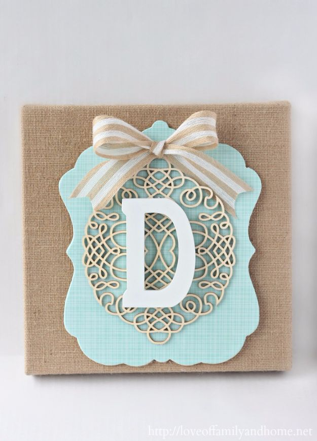 Cheap DIY Gifts and Inexpensive Homemade Christmas Gift Ideas for People on A Budget - DIY Burlap Monogram - To Make These Cool Presents Instead of Buying for the Holidays - Easy and Low Cost Gifts fTo Make For Friends and Neighbors - Quick Dollar Store Crafts and Projects for Xmas Gift Giving Parties - Step by Step Tutorials and Instructions #diygifts #teencrafts #diyideas #crafts #christmasgifts #cheapgifts