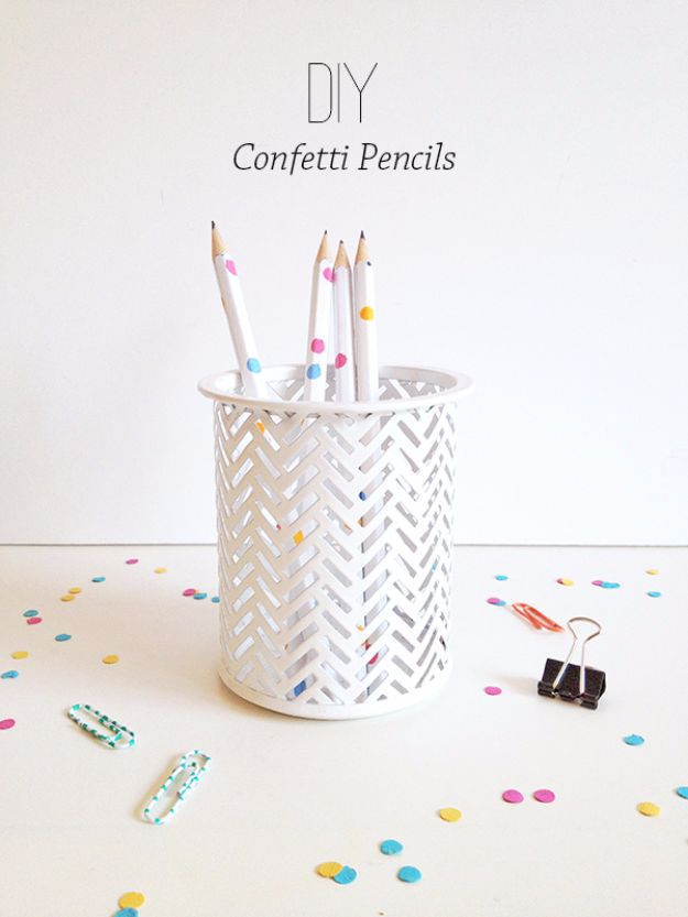 Crafts for Teens to Make and Sell - DIY Confetti Pencils - Cheap and Easy DIY Ideas To Make For Extra Money - Best Things to Sell On Etsy, Dollar Store Craft Ideas, Quick Projects for Teenagers To Make Spending Cash - DIY Gifts, Wall Art, School Supplies, Room Decor, Jewelry, Fashion, Hair Accessories, Bracelets, Magnets #teencrafts #craftstosell #etsyideass